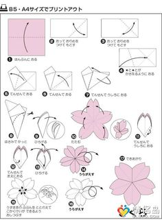 Another origami cherry blossom (sakura) pattern. Another origami cherry blossom (sakura) pattern. Origami Design, Origami Tutorial, Kimono Origami, Instruções Origami, Origami Wedding, Origami Dragon, Origami Fish, Useful Origami, Origami Instructions
