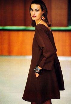 Yasmin Le Bon is wearing Rive Gauche YSL, Harper's Bazaar May 1991. Photo by Arthur Elgort.