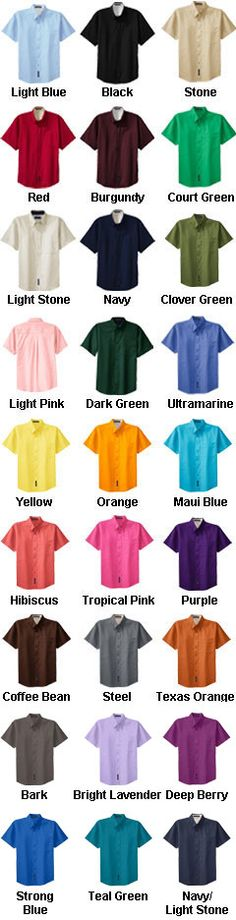 Mens Easy Care, Wrinkle Resistant Short Sleeve Shirts - All Colors