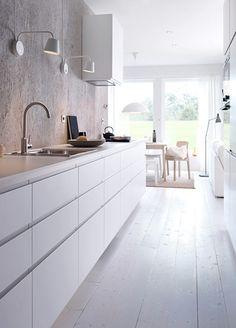New Kitchen Ikea Voxtorp Cabinets Ideas Kitchen Ikea, White Kitchen Cabinets, Kitchen Interior, New Kitchen, Kitchen Dining, Kitchen Decor, Kitchen White, Kitchen Walls, Narrow Kitchen