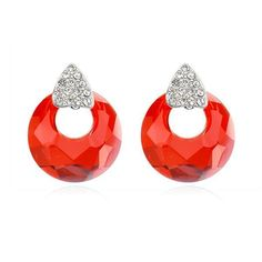 "Luxury Women's 18K White Gold Plated & Red ""Magic Mirror"" Crystal Earring Made With Swarovski Elements (8269)"