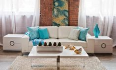 White Contemporary Living Room with Turquoise Curtains Office ~ Rustic Exposed Brick Wall Between White Window Curtains   Today's Home Decorating Inspiration