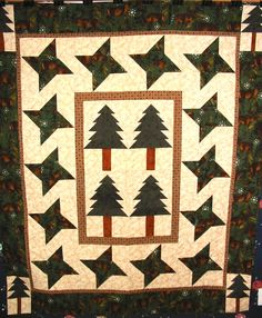 Fun and fast woodsy flannel Lap Quilt.