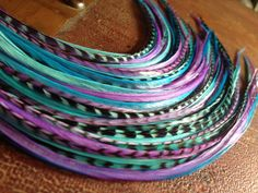 Colorful Hair Feather Extensions Purple Blue Grizzly, 5 long bonded hair plume bundle