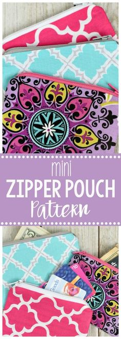 Mini Zipper Pouch Pattern - - Mini Zipper Pouch or Coin Purse Pattern-This is a fun and easy sewing pattern and makes a great beginner sewing project if you want to try your hand at zippers. Cute and fun to sew! Coin Purse Pattern, Pouch Pattern, Purse Patterns, Sewing Patterns Free, Coin Purse Tutorial, Diy Coin Purse, Belt Purse, Pattern Sewing, Purse Strap