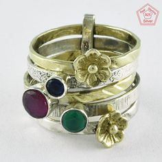SZ. 7.5 US MULTI STONE FANCY 925 STERLING SILVER & BRASS STACKABLE RING #SilvexImagesIndiaPvtLtd #Stackable #AllOcassions
