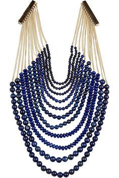 ROSANTICA  Raissa 24-karat gold-dipped lapis lazuli necklace