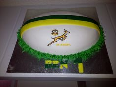 Rugby cake 6th Birthday Parties, Boy Birthday, Birthday Cakes, Fondant Cakes, Cupcake Cakes, Cupcakes, Baby Shower Cakes, Baby Boy Shower, Rugby Cake