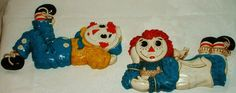 These were in Zack's nursery! Vintage Raggedy Ann & Andy Wall Hanging Plaques Childrens Decor Bobbs-Merrill 1977