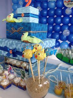 Bolinhos no palito em formato de peixe - Festa Fundo do Mar