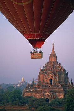 Hot Air Ballon Over Bagan Myanmar, relaxed adrenaline but beautiful place to do this