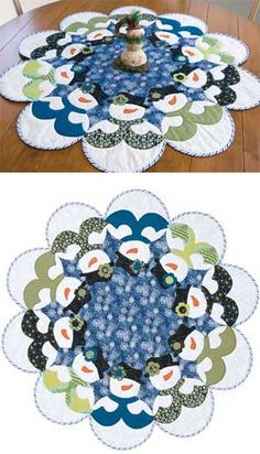 "Table-topper or tree skirt-you decide. Applique the snowmen as you machine quilt these 40""-diameter quilts. Pattern has Jenice Belling's fusible-applique directions."