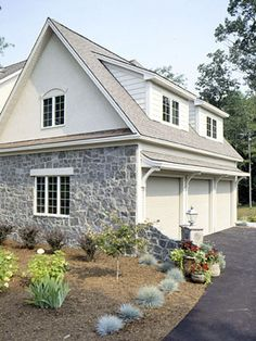 Garage with room above... Oh my I love the dormers & especially the little overhang roof deal!