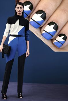 MANICURE MUSE: Versace Pre-Fall It's time to strip off the glitter polish and start the new year with this bold new look! Tutorial inside… Also, if you don't know this model– you should! Cute Nails, Pretty Nails, Statement Nail, Beauty Redefined, Tape Nail Art, Geometric Nail Art, Lady Fingers, Fabulous Nails, Cool Nail Designs