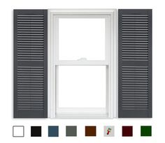 Polaris Vinyl Open Louver Shutters 1 Pair from BuyMBS.com Louvered Shutters, Vinyl Shutters, Exterior Paint Colors For House, Paint Colors For Home, Shutter Colors, Inspired Homes, House Painting, Home Appliances
