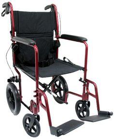 Karman Healthcareyy LT-1000HB-BD Folding Aluminum Transport Chair with Companion Brakes, Burgundy, 19 Inches Seat Width