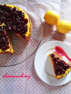 Γλυκό με Lemon Curd και Βύσσινα