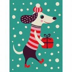 Mini greeting #card #dog #Christmas by Helen #Dardik from www.kidsdinge.com https://www.facebook.com/pages/kidsdingecom-Origineel-speelgoed-hebbedingen-voor-hippe-kids/160122710686387?sk=wall #kidsdinge