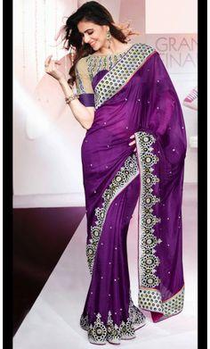 Divine Bluish Purple Embroidered Saree #saree-online #saree-fashion
