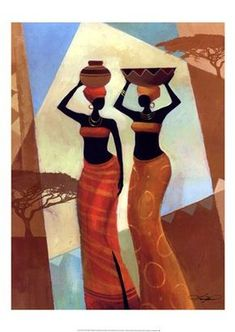 Tangletown Fine Art Sisters by Keith Mallett Fine Art Giclee Print on Gallery Wrap Canvas, 25 x 33 Stretched Canvas Prints, Framed Art Prints, Afrique Art, African Art Paintings, Sisters Art, African American Art, Tribal Art, Figurative Art, Black Art