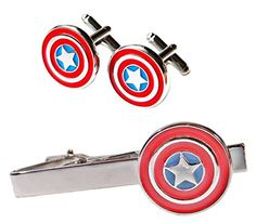Marvel's CAPTAIN AMERICA Silvertone/Enamel TIE CLIP  CUFFLINKS SET ** You can get more details by clicking on the image.
