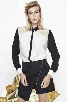 MERCURY MARY BLOCK SILK SHIRT IN ANTHRACITE BLACK, JET STREAM WHITE AND SMOKE GRAY NUDE AND LE TEMPS DE L'AMOUR POLYESTER DOBBY SKIRT IN ANTHRACITE BLACK http://fallwinterspringsummer.com