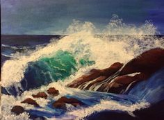 """Tina V. Smith painted """"Wave crashing on the Rocks"""" from my YouTube lessons. More ocean lessons and seascape painting step by step tutorials can be found in our Wave and Water Master class at http://www.gingercooklive.gallery"""