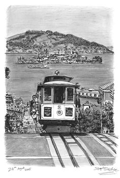 Cable car in San Francisco - drawings and paintings by Stephen Wiltshire MBE Stephen Wiltshire, Autistic Artist, San Francisco Cable Car, Bus Art, Travel Sketchbook, San Fransisco, Modern Artists, Rest Of The World, Environmental Art