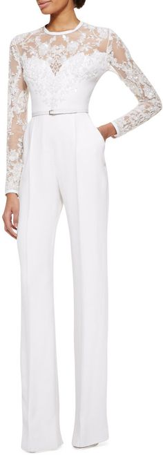 Elie Saab Long-Sleeve Lace-Embellished Jumpsuit, Jasmine White on shopstyle.com