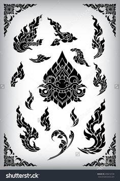 Set Of Thai Art Element Ethnic Art Vector - 439616728 : Shutterstock