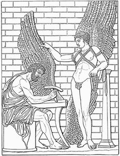 Daedalus constructs wings for his son, Icarus, after a Roman relief in the Villa Albani, Rome (Meyers Konversationslexikon, 1888).