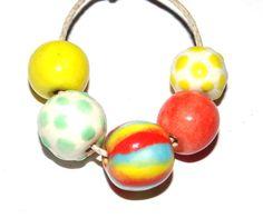 Ceramic Bead Set Handmade Textured Stoneware Bright by Grubbi