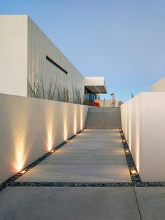 Exterior Design, Modern Landscape Gardening Ideas With Adorable Floor Lights Concept Also Concrete Floor With Gravel Accent Also White Moder...
