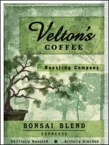 Velton's Bonsai Blend - notes of milk chocolate, caramel, hazelnut, & citrus fruit pervade - blend of Ethiopian Sidamo, Mexican Nayarita, Brazilian Tres Fazendas and Sumatran Mandeling