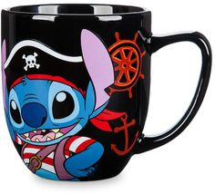 Stitch Disney Cruise Line Mug Ahoy matey! Pirate Stitch off the port bow, and he's thirsty for adventu. Mickey Mouse Club, Disney Mickey Mouse, Disney Cruise Line, Disney Parks, Resort Logo, Disney Cups, Ahoy Matey, Minnie Bow, How To Make Animations