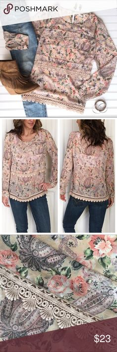 """Pleione Layered Lace Blouse Pleione Layered Lace Blouse   size S; poly/cotton Floral paisley print on nude with layered ruffle & lace trim on front   keyhole/button closure on back neck   slightly sheer - may need cami depending on preference   such a pretty, feminine top! . NWT, smoke-free home . 20"""" UA to UA 24.5"""" sleeve 25"""" length Anthropologie Tops Blouses"""