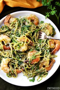 Yum!   Pesto Zucchini Noodles and Shrimp – Quick and easy dinner recipe with tender zucchini noodles and perfectly sauteed shrimp tossed in a delicious basil pesto sauce.       Also? Dinner will be re