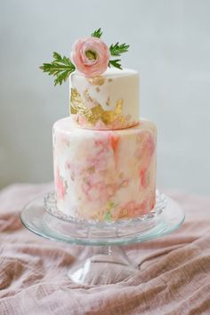 Watercolor Cakes Are the Next Big Wedding Trend via @PureWow - ELEGANT AND FEMME WEDDING CAKE (=)