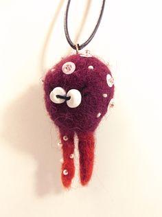 little wet felted monster pendant (No3)