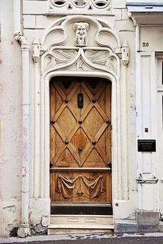 Gorgeous wood carved Door in Montmartre, Paris, France~
