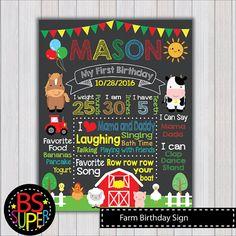 Farm Birthday Chalkboard Sign Farm First by BSsuperclipart on Etsy