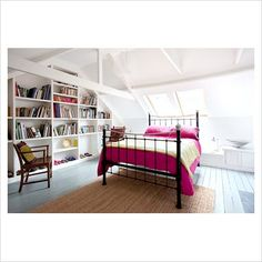 Gray painted floor boards, lots of white, pops of bold color