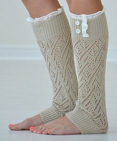 Natural Lace-Trim Darcy Leg Warmers by PeekABootSocks #zulily #zulilyfinds