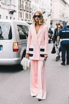 We love this stylish, all-pink pantsuit.