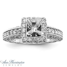 6 ct antique style engagement wedding ring | 14k White Gold 1/2 ct tw Diamond Antique Style Engagement Ring Semi ...