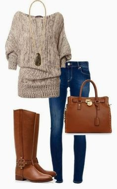 Adorable outfits with denim and slouchy sweater.