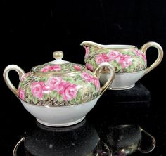 Antique IMPERIAL NIPPON ROSE Creamer Sugar Bowl Hand Painted Pink Gold Encrusted #Nippon