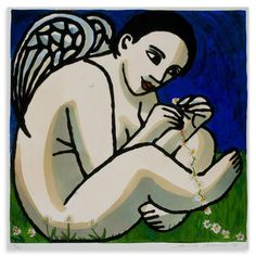 Anita Klein - Angel Making A Daisy Chain, Limited Edition Collograph, 52x51cm, $700 !!