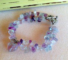 Rainbow Fluorite Bracelet Lavender Bracelet by JewelryCharmers, $20.00