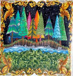 Back to the book that started it all, and still one of my favourites. The Enchanted Forest, Johanna Basford. #johannabasford #johannabasfordenchantedforest #enchantedforest #fabercastellpolychromos #fabercastell #adultcoloring #adultcoloringbook #coloringforadults